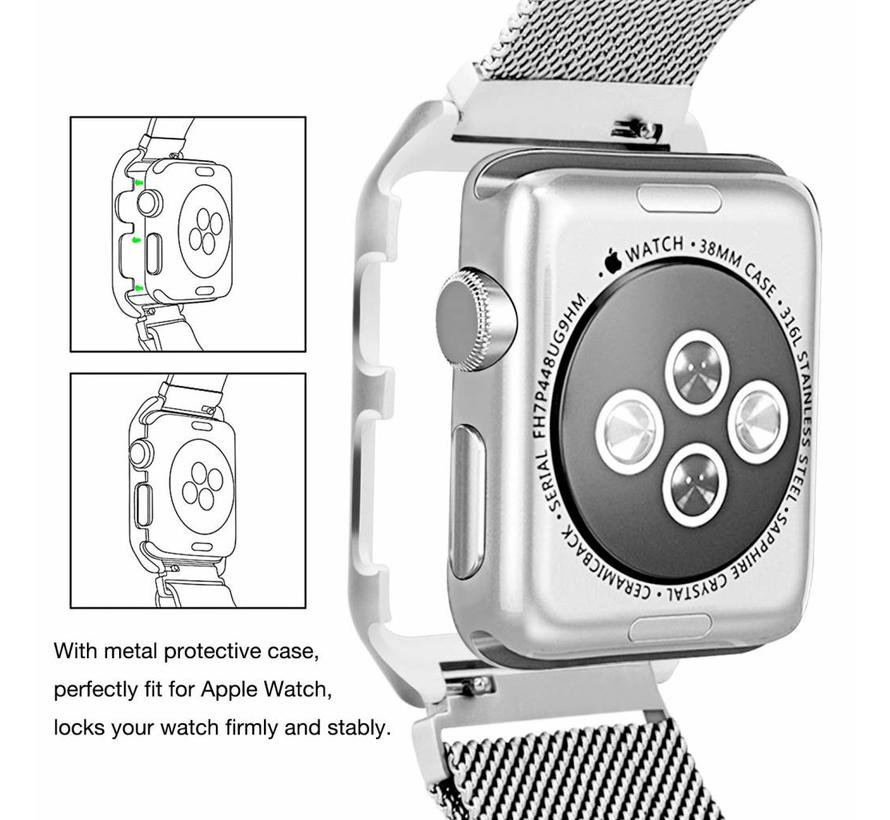 Apple watch milanese case band - zilver
