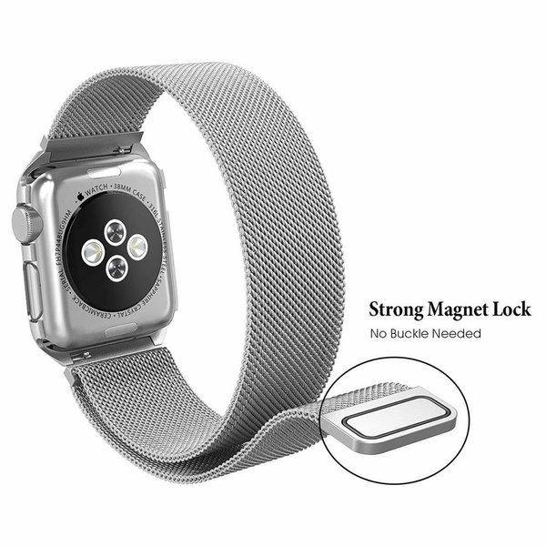 123Watches.nl Apple watch milanese case band - silber
