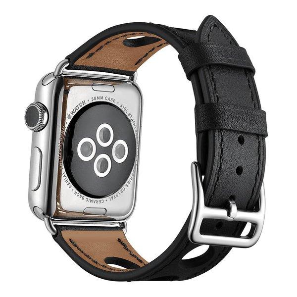 123Watches.nl Apple watch leren hermes band - zwart