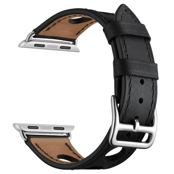 123Watches Apple watch leather hermes band - black