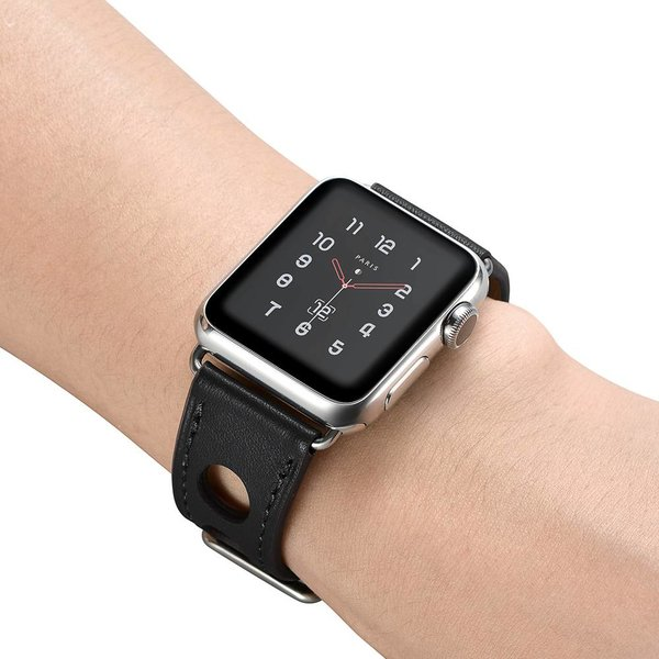 123Watches Apple watch leren hermes band - zwart