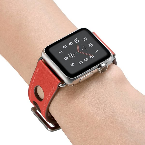 123Watches Apple watch leather hermes band - red