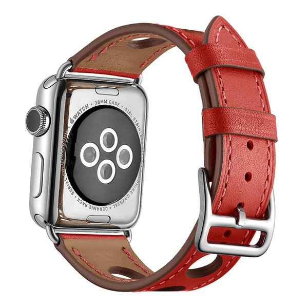 123Watches.nl Apple watch leren hermes band - rood