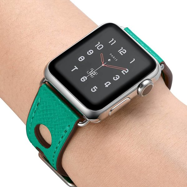 123Watches Apple watch bracelet en cuir hermes - vert