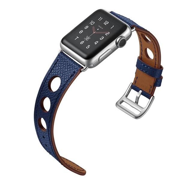 123Watches.nl Apple watch bracelet en cuir hermes - bleu foncé