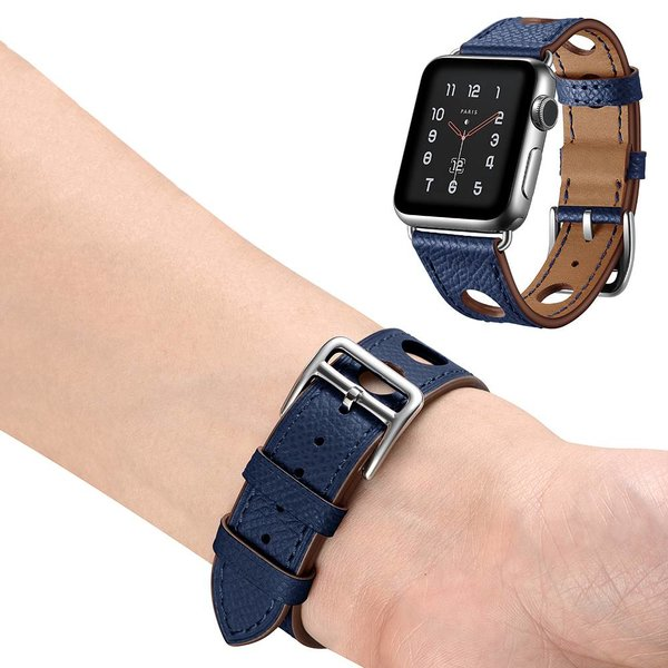 123Watches.nl Apple watch leren hermes band - donkerblauw