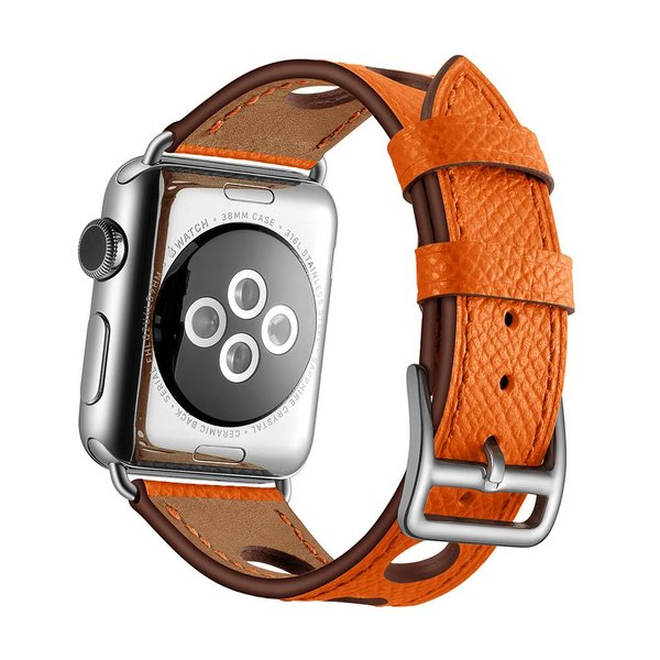 123Watches.nl Apple watch leder hermes band - orange