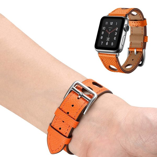 123Watches.nl Apple watch leren hermes band - oranje