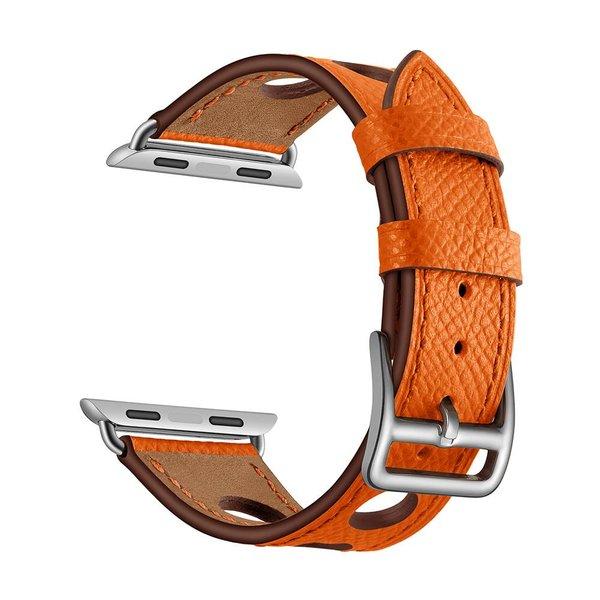 123Watches Apple watch bracelet en cuir hermes - orange