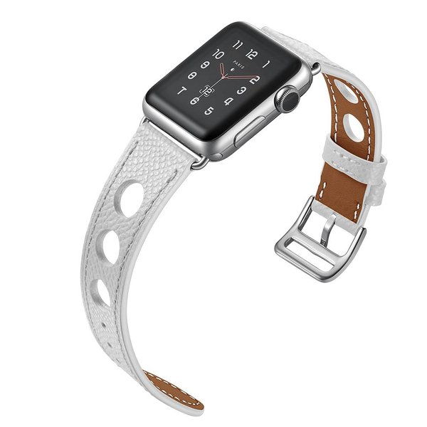 123Watches.nl Apple watch leren hermes band - wit