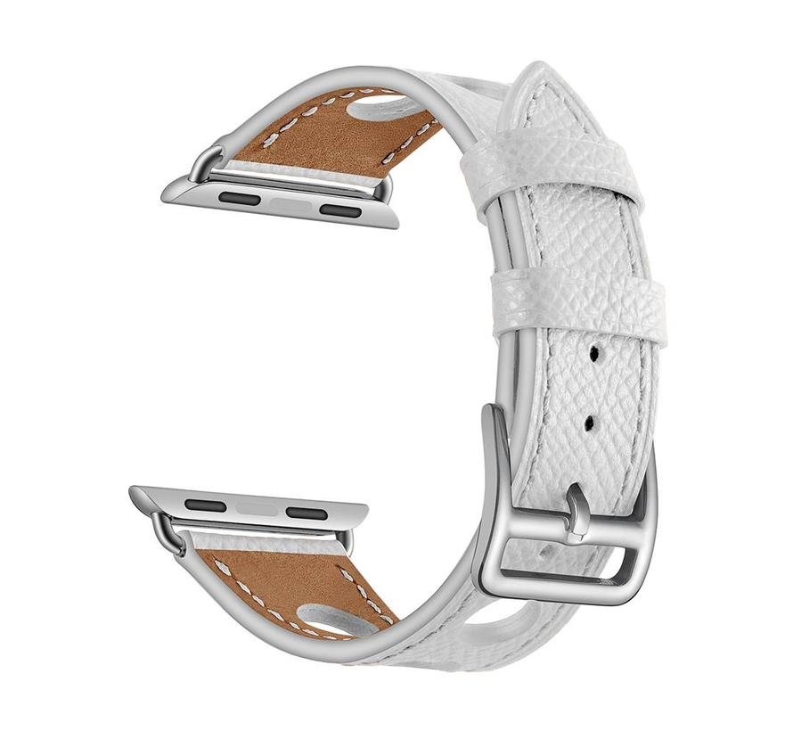 Apple watch leather hermes band - white