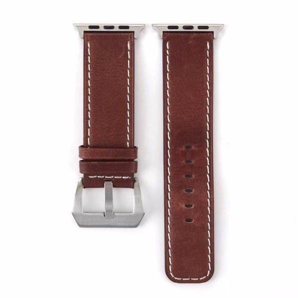 123Watches Apple watch bracelet rétro en cuir - marron