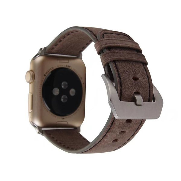 123Watches Apple watch bracelet rétro en cuir - brun foncé