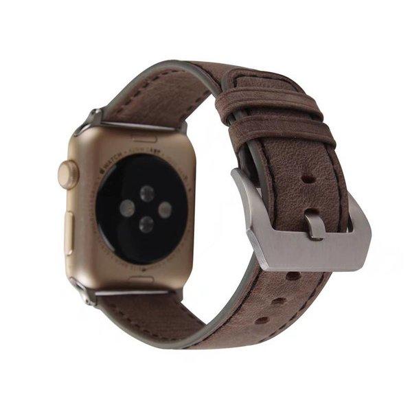 123Watches.nl Apple watch leder retro band - dunkelbraun