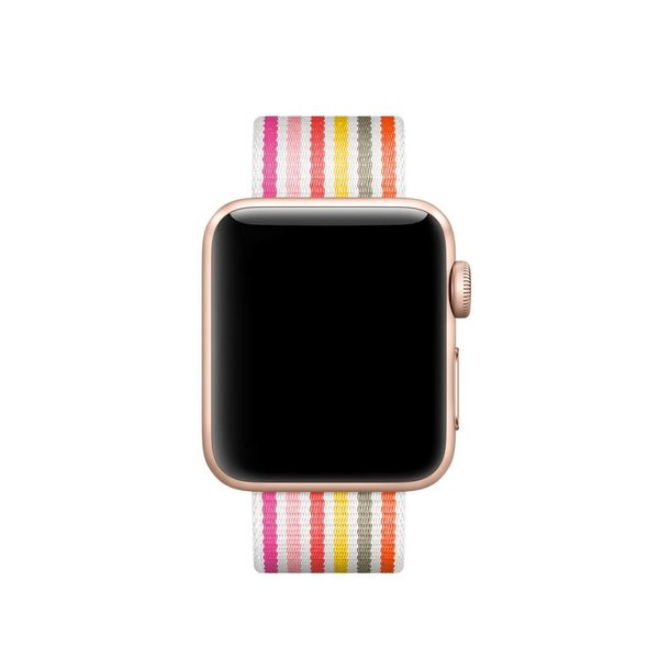 123Watches Apple watch sangle à boucle en nylon - rose gris jaune rayé