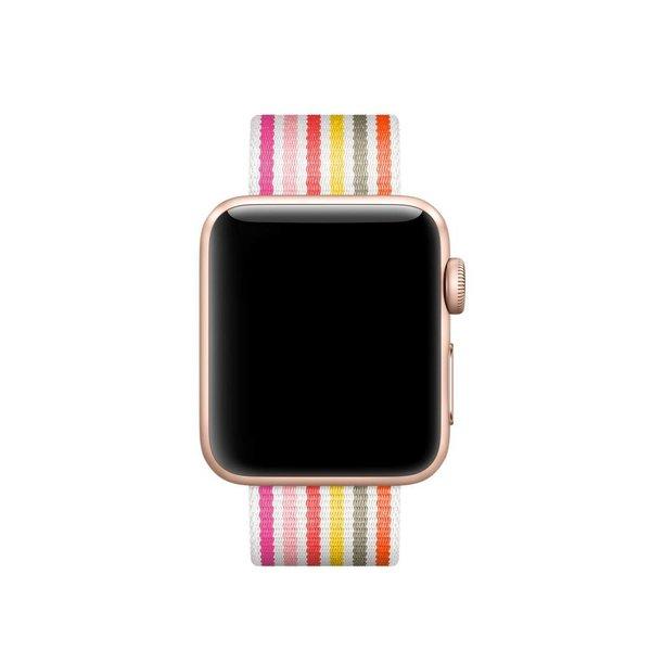 123Watches.nl Apple watch nylon gesp band - roze grijs geel gestreept