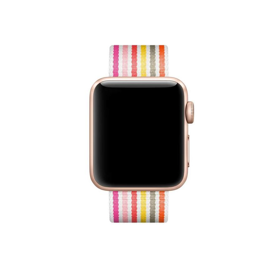 Apple Watch nylonschnallenband - rosa graues gelb gestreift