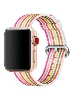 123Watches.nl Apple watch nylon buckle band - pink gray yellow striped