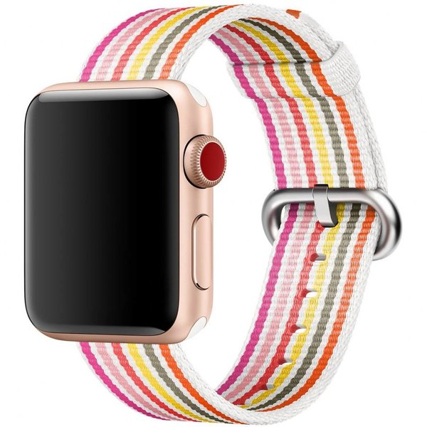 123Watches Apple watch nylon buckle band - pink gray yellow striped