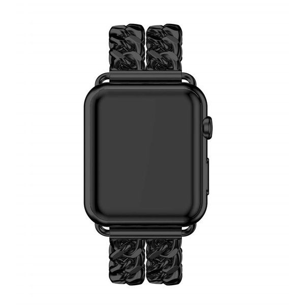 123Watches Apple watch steel cowboy link band - black