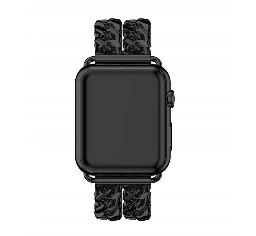 Apple watch stalen cowboy schakel band - zwart