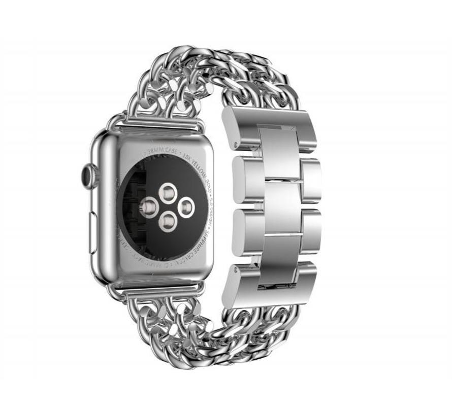 Apple watch stalen cowboy schakel band - zilver