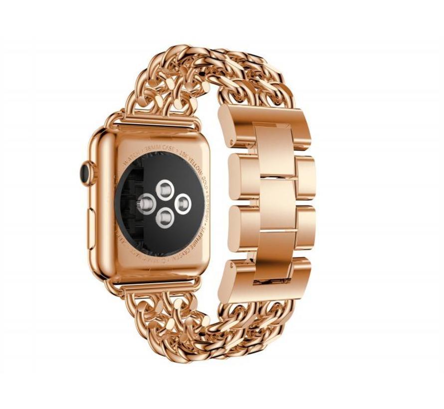 42mm Apple Watch rose gouden stalen cowboy schakel bandje