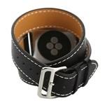 123Watches Apple Watch tapis de course long en cuir - noir