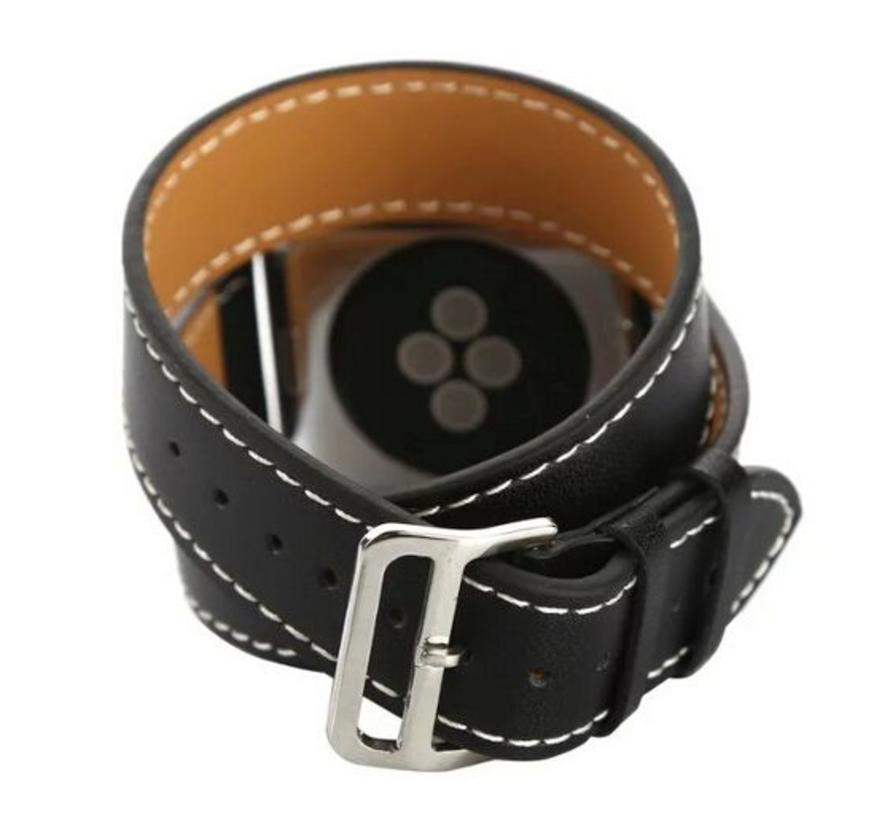 Apple watch leather long loop band - black