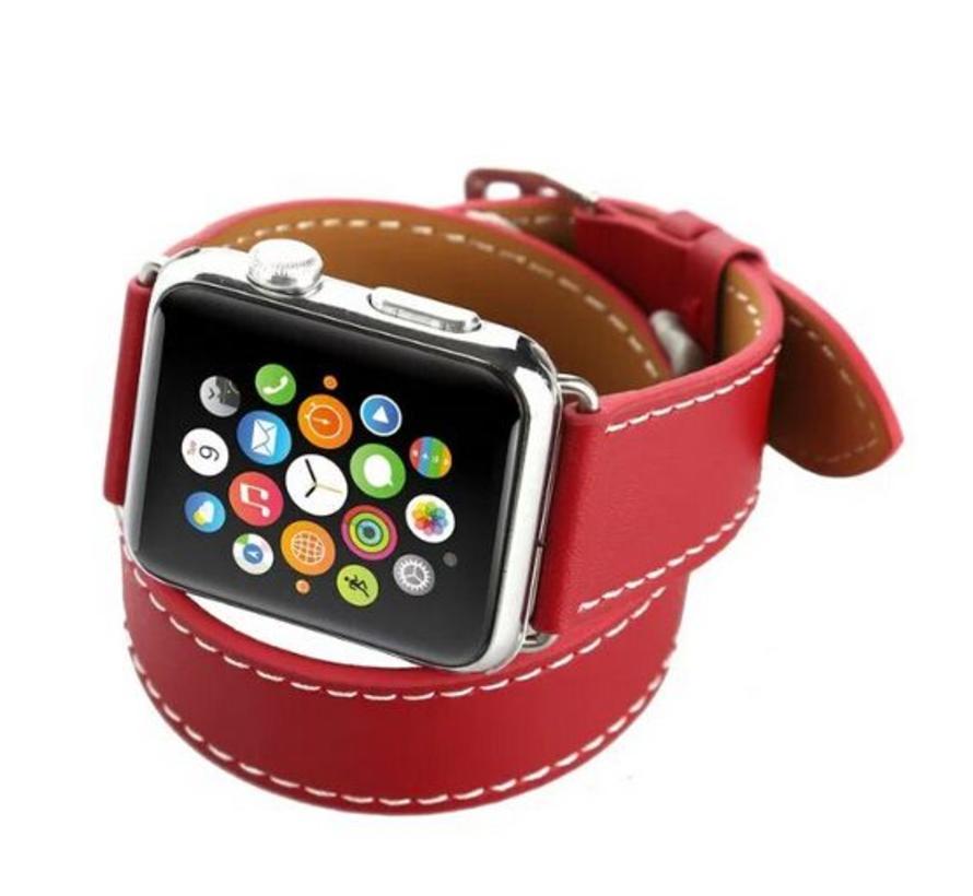 Apple watch leren long loop band - rood