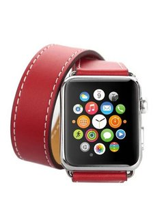 123Watches.nl 42mm Apple Watch rood leren long loop bandje