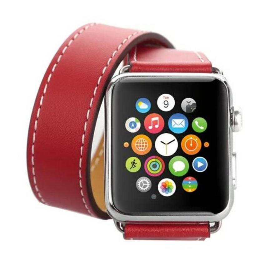 42mm Apple Watch rood leren long loop bandje