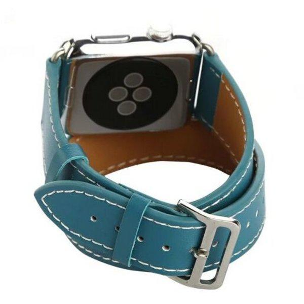 123Watches.nl Apple watch leren long loop band - blauw
