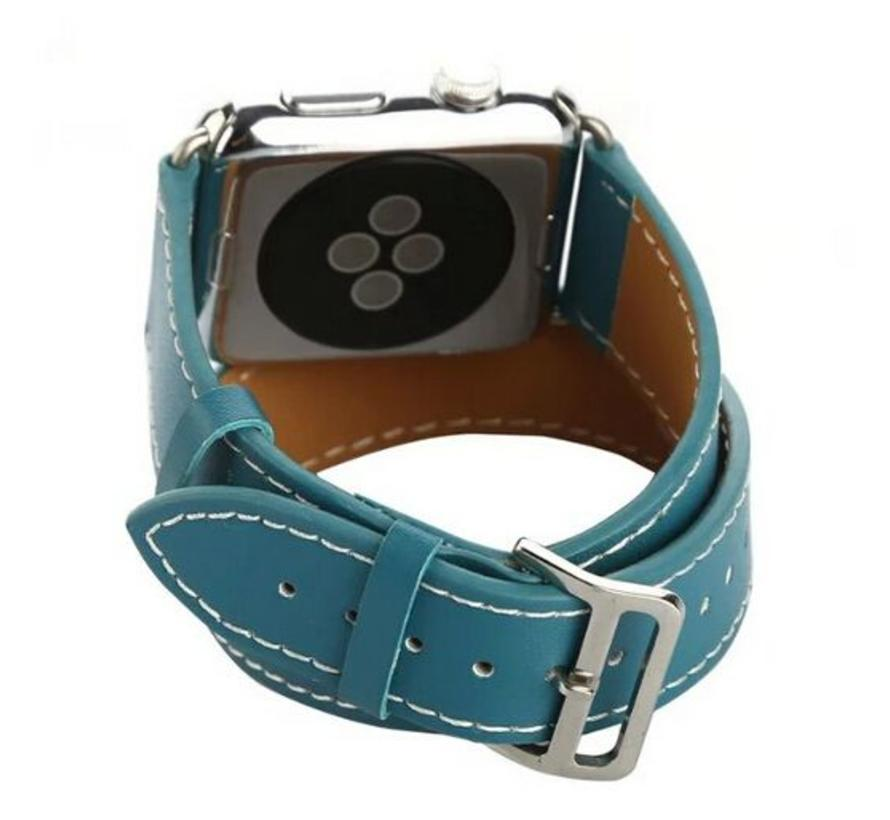 Apple watch leren long loop band - blauw