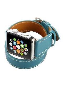 123Watches.nl Apple watch leder lange schleife band - blau