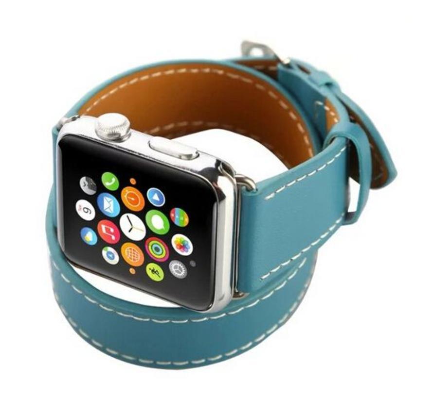 Apple watch leder lange schleife band - blau