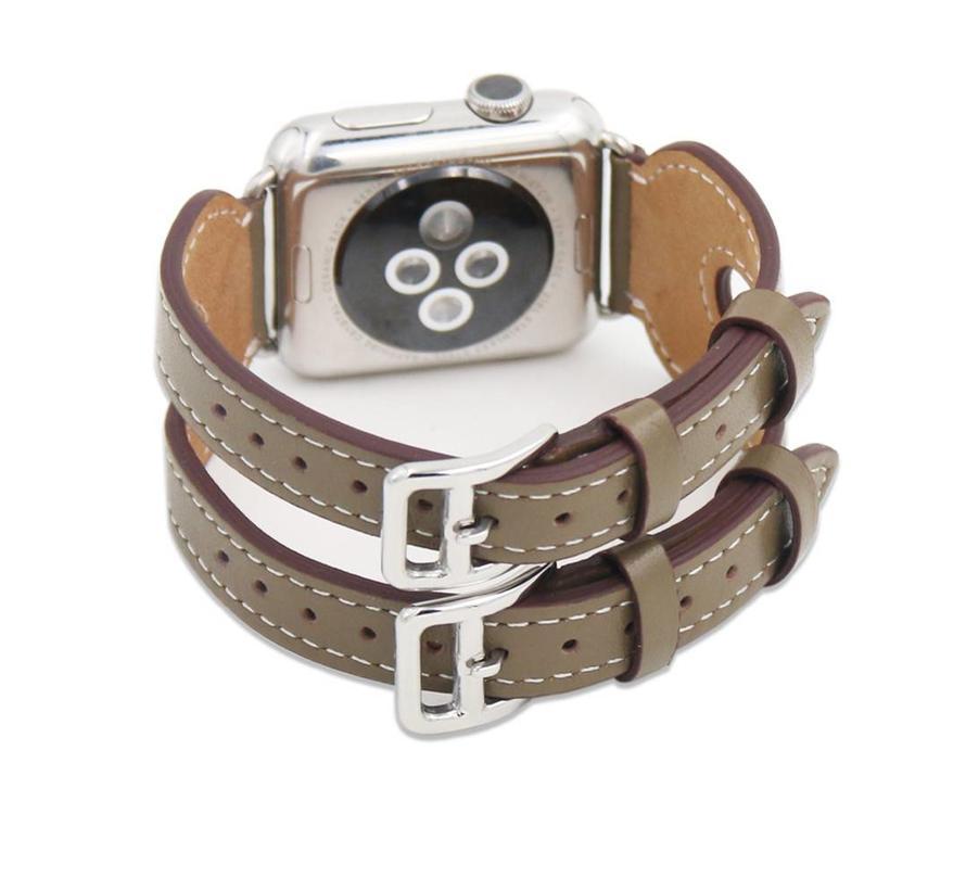 42mm Apple Watch donker bruin leer double gesp bandje