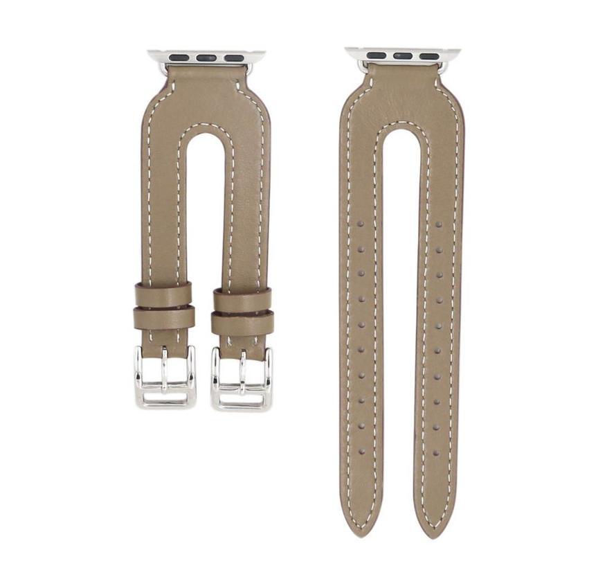 Apple watch leather double buckle strap - beige