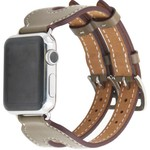 123Watches Apple watch leather double buckle strap - beige