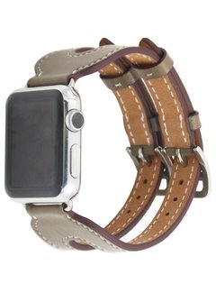 123Watches.nl Apple watch leather double buckle strap - beige