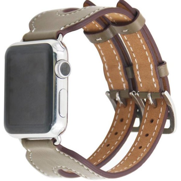 123Watches Apple watch cuir sangle double boucle - beige