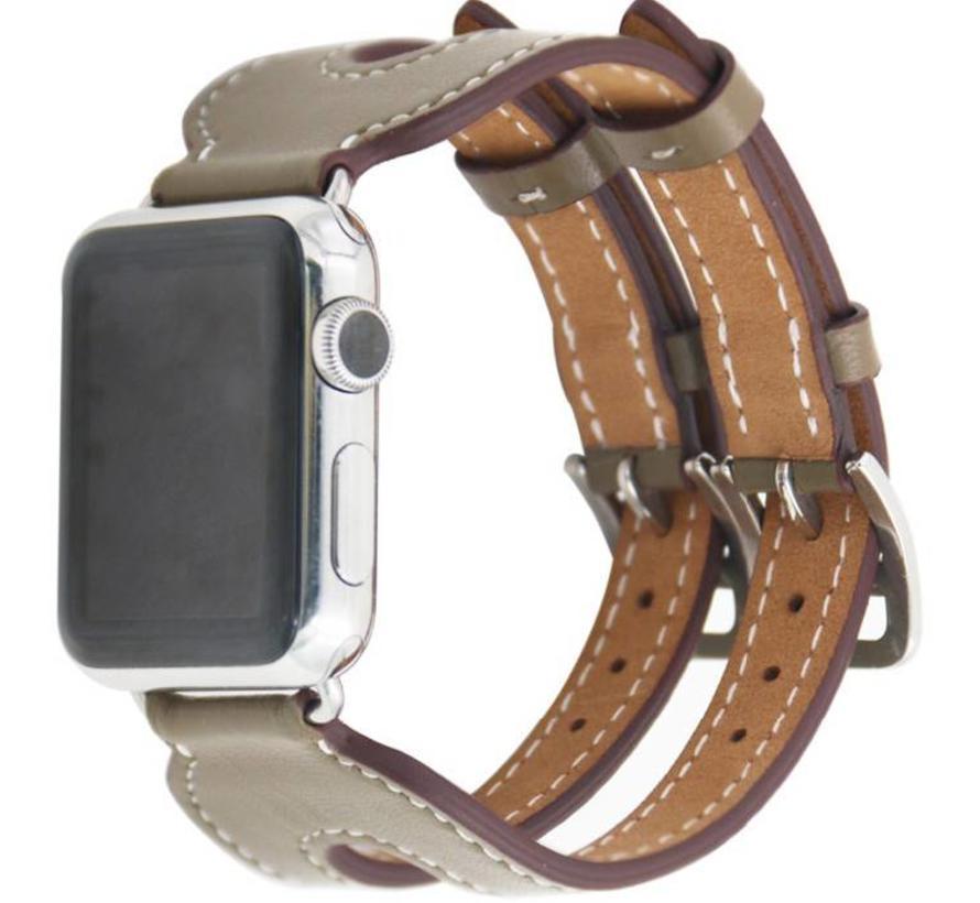 Apple watch leren double gesp band - beige