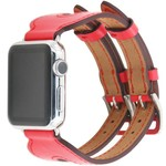 123Watches Apple watch leather double buckle strap - red