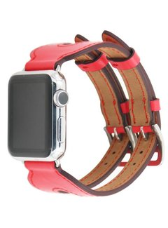 123Watches.nl Apple watch leather double buckle strap - red