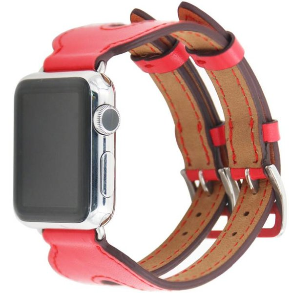 123Watches.nl Apple watch leren double gesp band - rood