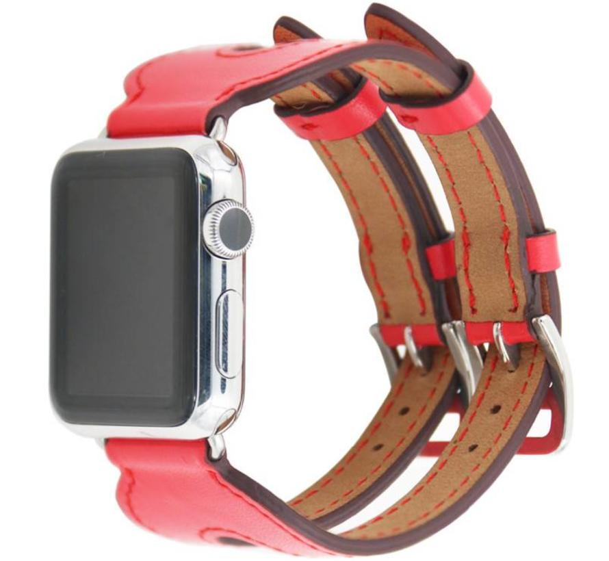 Apple watch leren double gesp band - rood