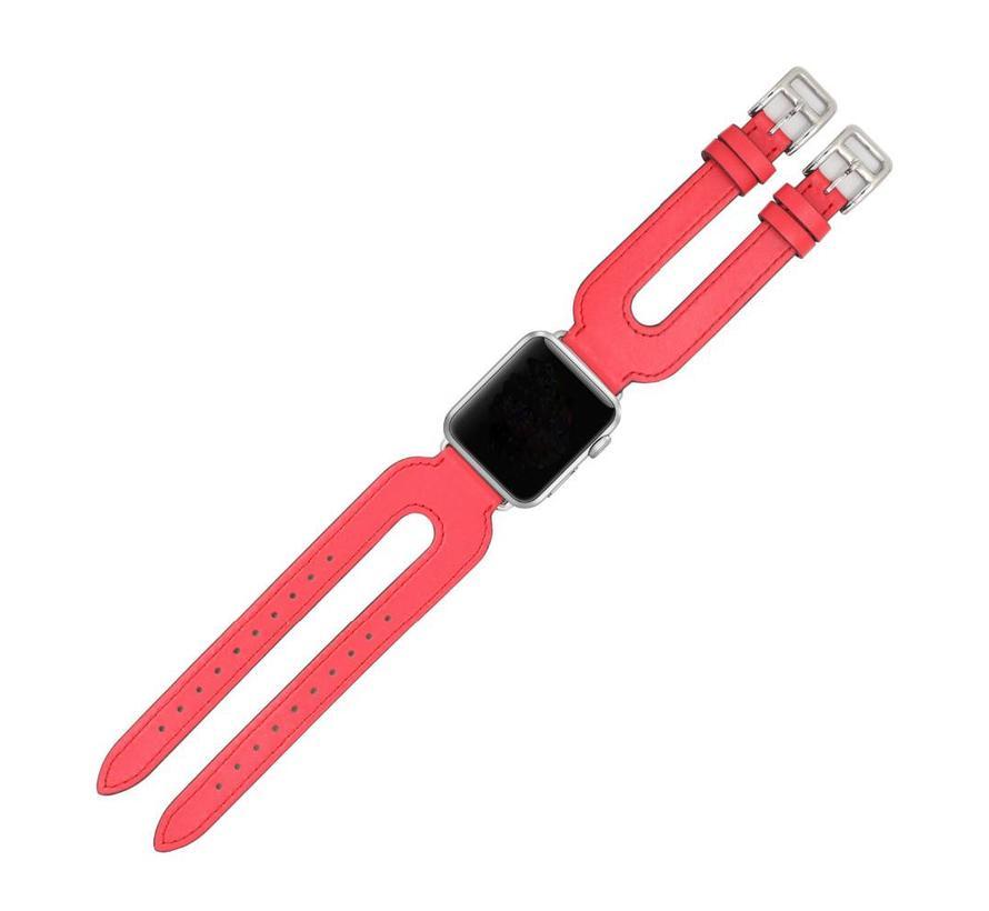 Apple watch leder doppelschnallen belts - rot