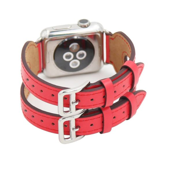 123Watches.nl Apple watch leren double gesp band - rood