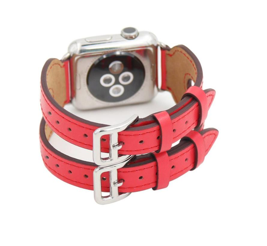 Apple watch leather double buckle strap - red