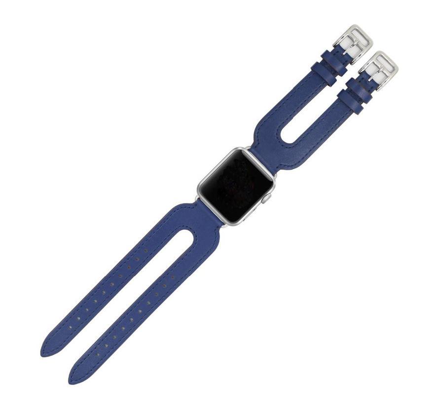Apple watch leder doppelschnallen belts - blau